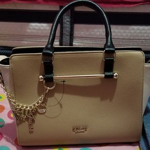 Guess mini tote with hangin guess chain